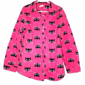 Faded Glory Cat Print Button Down Shirt Pink Med